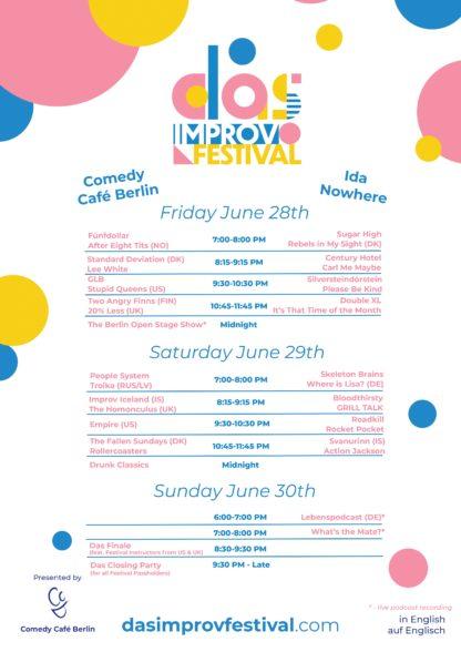 Das Improv Festival Schedule